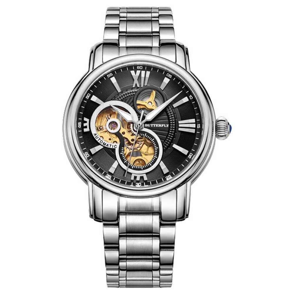 バタフライビジネスメンズ自動機械ファッションスチールバンド防水手首腕時計 B015K7VK1U