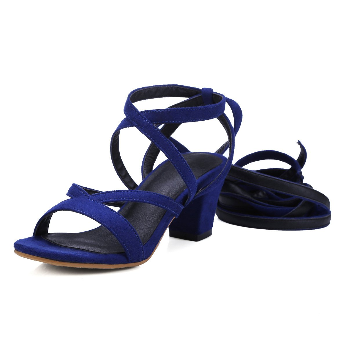 Unbekannt Sandalen Woherren Open Toe High Heels Dünnen Gürtel Gürtel Gürtel Riemchen Römische Schuhe Blau 39 c86cea