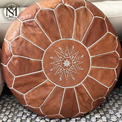 Marrakesh Style Amazing & Beautiful, Original Tan Brown poufs Moroccan Leather Pouf, Natural Leather poufs, Home Gifts, Wedding Gifts, (Style Moroccan Ottoman)