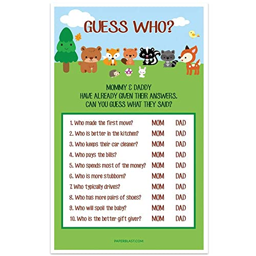 Amazon Com Woodland Creatures Baby Shower Game Guess Who Mommy Or