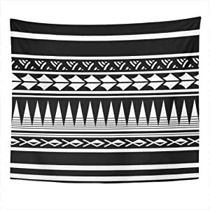 Suklly Tapestry Wall Hanging Polynesian Maori Tattoo Sleeve Samoan Sketch Forearm Stencil Bracelet Home Decor Polyester Living Bedroom Dorm 50 X 60 Inches Picnic Mat Beach Towel Bed Cover