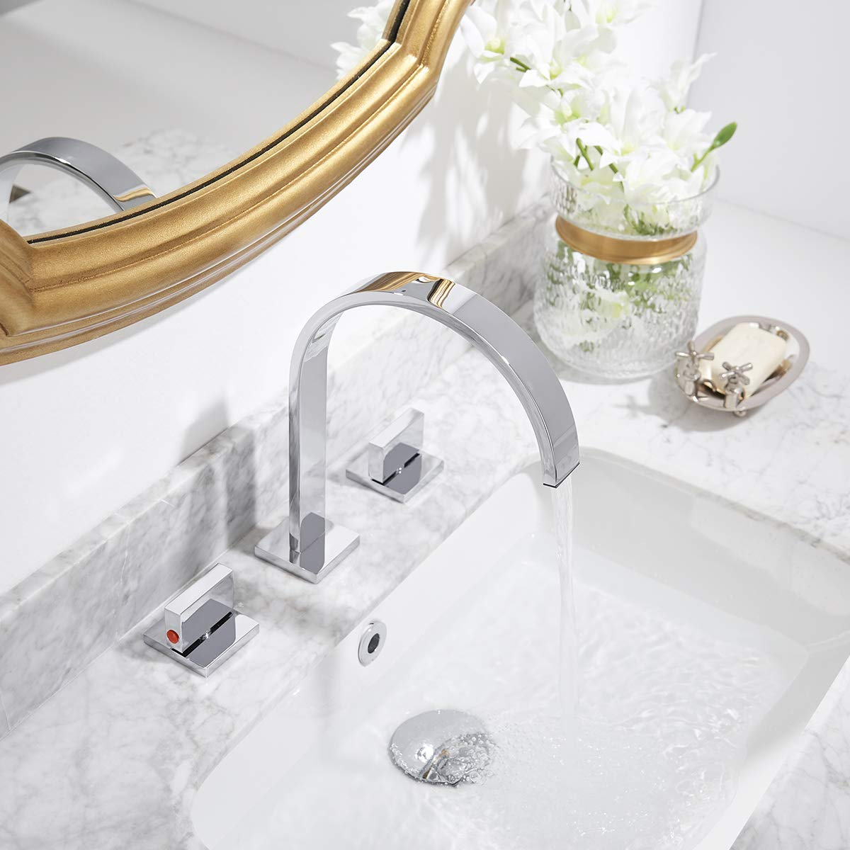 Homevacious Widespread Bathroom Sink Faucet Chrome 2 Handles 3 Holes 8-16 Inch Waterfall Bath Lavatory Modern Faucets Long Spout Deck Mount Ceramic Valve Basin Deck Mount Commercial Mixer Tap Hose