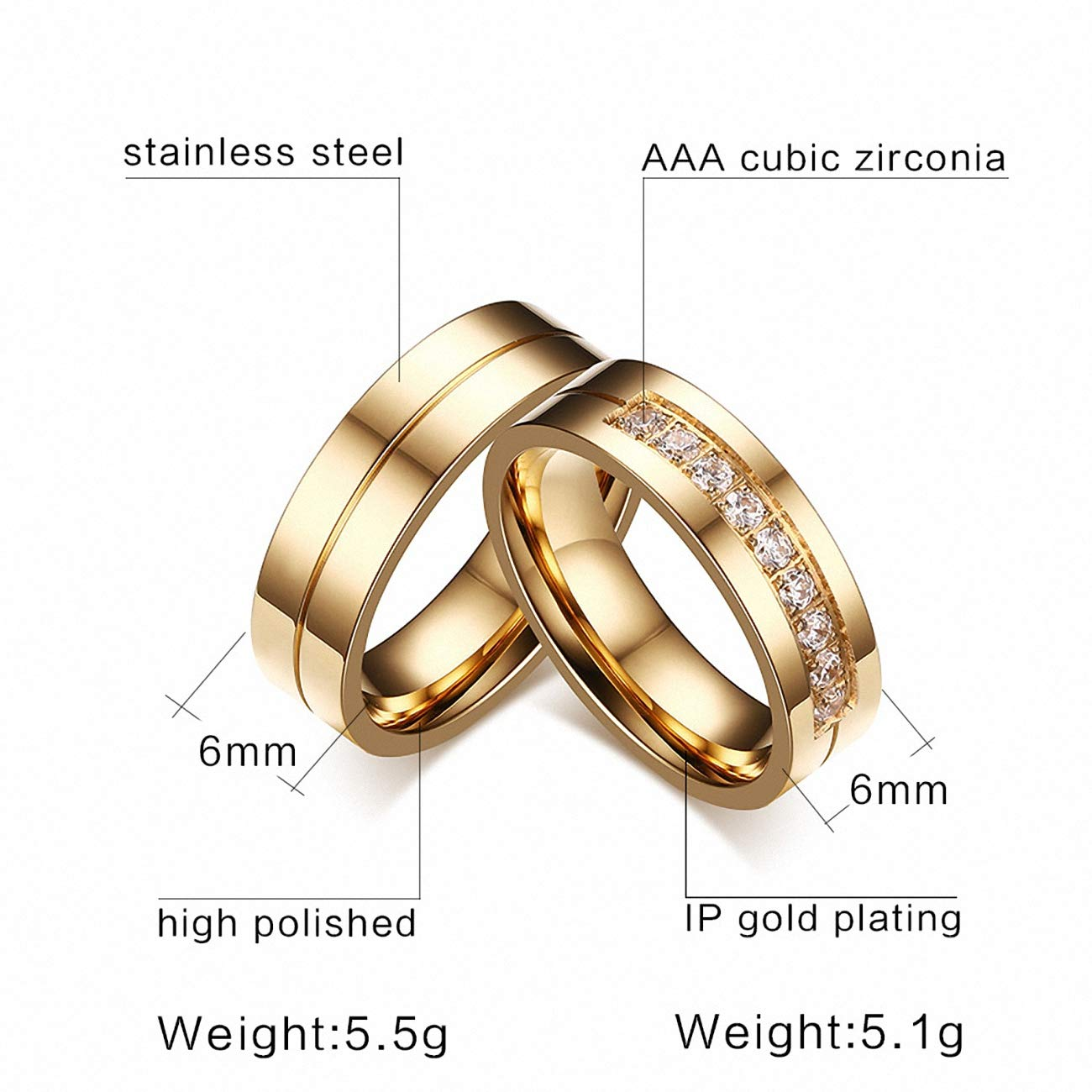 Amazon Com Wedding Rings Women Men Couple Stainless Steel