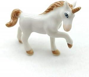 Grandroomchic Dollhouse Animal Miniature Handmade Unicorn Porcelain Statue Antique Ceramic Decorative 1/24 Scale Figurine Collectibles Gift Collectors