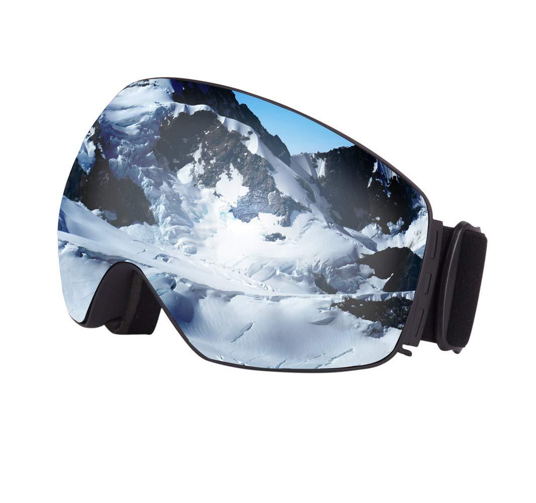 Lelinta Skiing Goggles UV Protection Anti-Slip Strap for Ski Snowboard with OTG Anti-Fog Spherical Lens Design Snow Goggles Helmet Compatible Women Men Ski Goggles