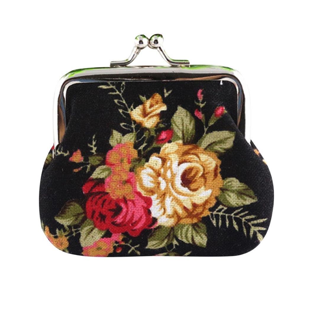 SMTSMT Women Retro Vintage Flower Small Wallet Hasp Purse (Black)