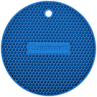 Cuisinart Multipurpose Silicone Kitchen Tool, Trivet/Pot Holder, Spoon Rest, Jar Opener, Coaster, Round Heat Resistant Pad, Blue