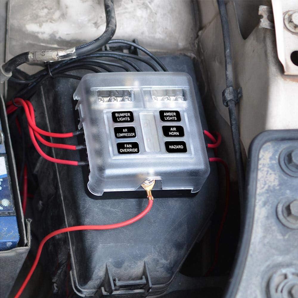 Womdee caja de fusibles de 6 vías, caja auxiliar con bloque fusionado, con cubierta impermeable e indicador de advertencia LED, para coche, subterráneo, barco, marino: Amazon.es: Hogar