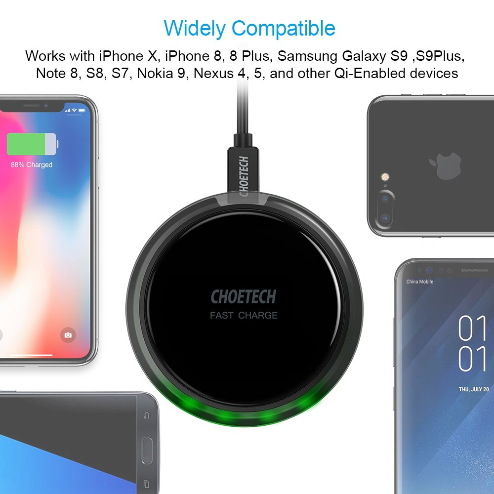 CHOETECH Wireless Charger, 7.5W Qi Fast Wireless Charger Pad Compatible iPhone X/8/8 Plus,10W Fast Charging Compatible Samsung Galaxy S9 S8 S9 Plus Note 8 (QC3.0 AC Adapter Included) by CHOETECH (Image #5)
