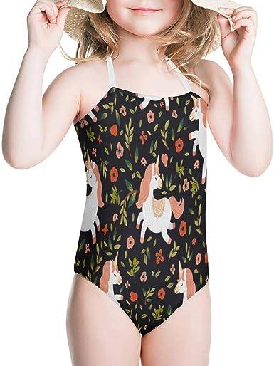 KiuLoam Cute Unicorn and Flowers Girls One-Piece Swimsuit Quick Dry Beach Swim Bathing Suit for 3-4 Years Little Girls