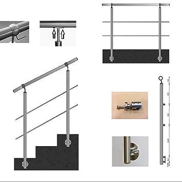 Gel/änder f/ür seitliche Montage an Treppen Balkone und Terrassen mit waagerechten Streben 100 cm mit 2 Pfosten und 2 Querstreben 90mm