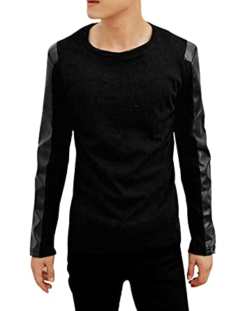 Allegra K Men PU Leather Panel Long Sleeves Round Neck Ribbed Tee ...