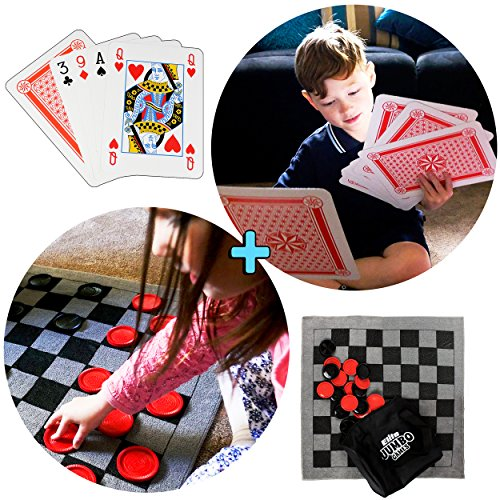 Outdoor Games And Fun (Large Playing Cards, Jumbo Checker Rug Game and Tic Tac Toe all in 1 Combo Party Pack - Fun Indoor and Outdoor Yard Games for)