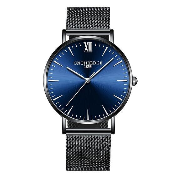 Moda Simple Relojes para Hombre - Correa de Aleación Ultra-Delgado Relojes de Pulsera para Señores, Azul-Negro: Amazon.es: Relojes