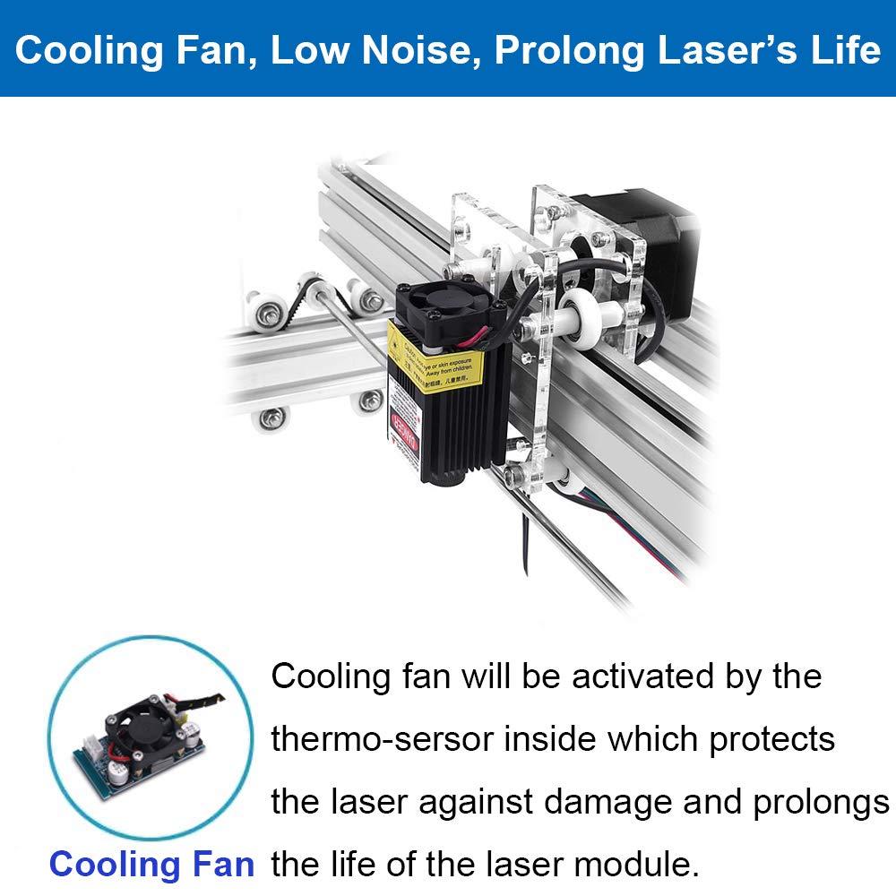 Gravurfl/äche 400X500 mm einstellbare Laserdrucker Carving /& Schneiden mit Schutzbrille 5500MW Desktop 12V USB Lasergravierer Carver Carving Machine DIY Kit