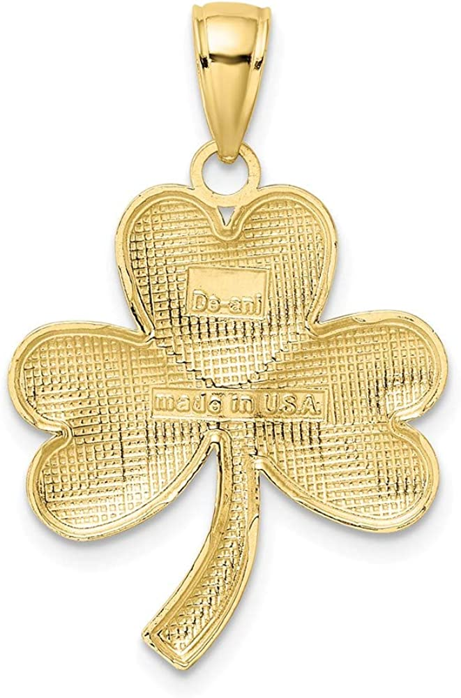 10k Yellow Gold 3 Leaf Clover Pendant Charm Necklace Good Luck Italian Horn Fine Jewelry Gifts For Women For Her