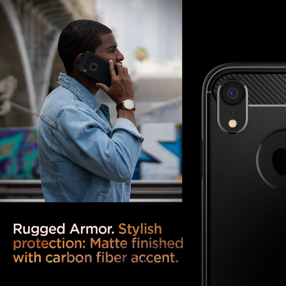 2018 Spigen Rugged Armor Works with Apple iPhone XR Case Matte Black