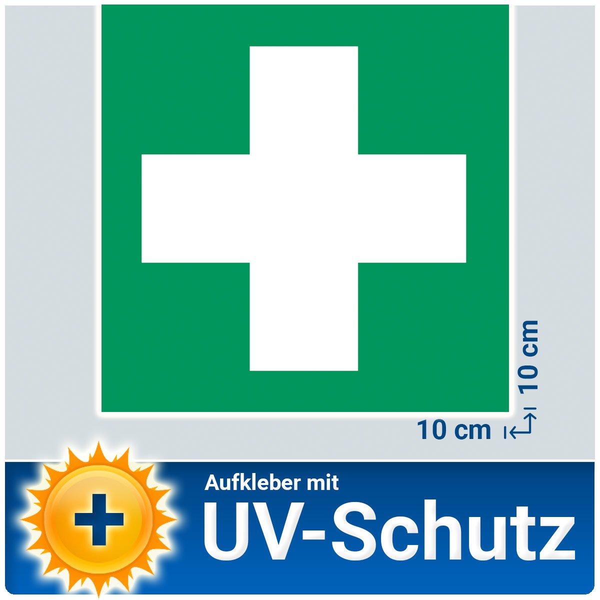 '5x Autocollants 'Première Aide Stickers caractères avec protection UV stratifié (Outdoor), 10x 10cm, boîte de bandages de sécurité compatible autocollant vert croix plaque signalétique, car