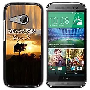 Qstar Arte & diseño plástico duro Fundas Cover Cubre Hard Case Cover para HTC ONE MINI 2 / M8 MINI ( Sunset Text Inspiring Tree Africa Clouds)