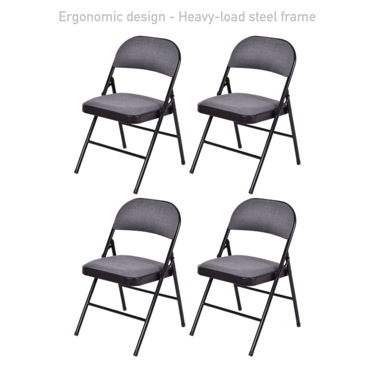 Portable Commercial Folding Chair Wedding Party Holidays Event Seat Durable Heavy-load Steel Frame Sponge-filled Fabric Seat Home Kitchen Office Furniture - Set of 4 Grey #1728