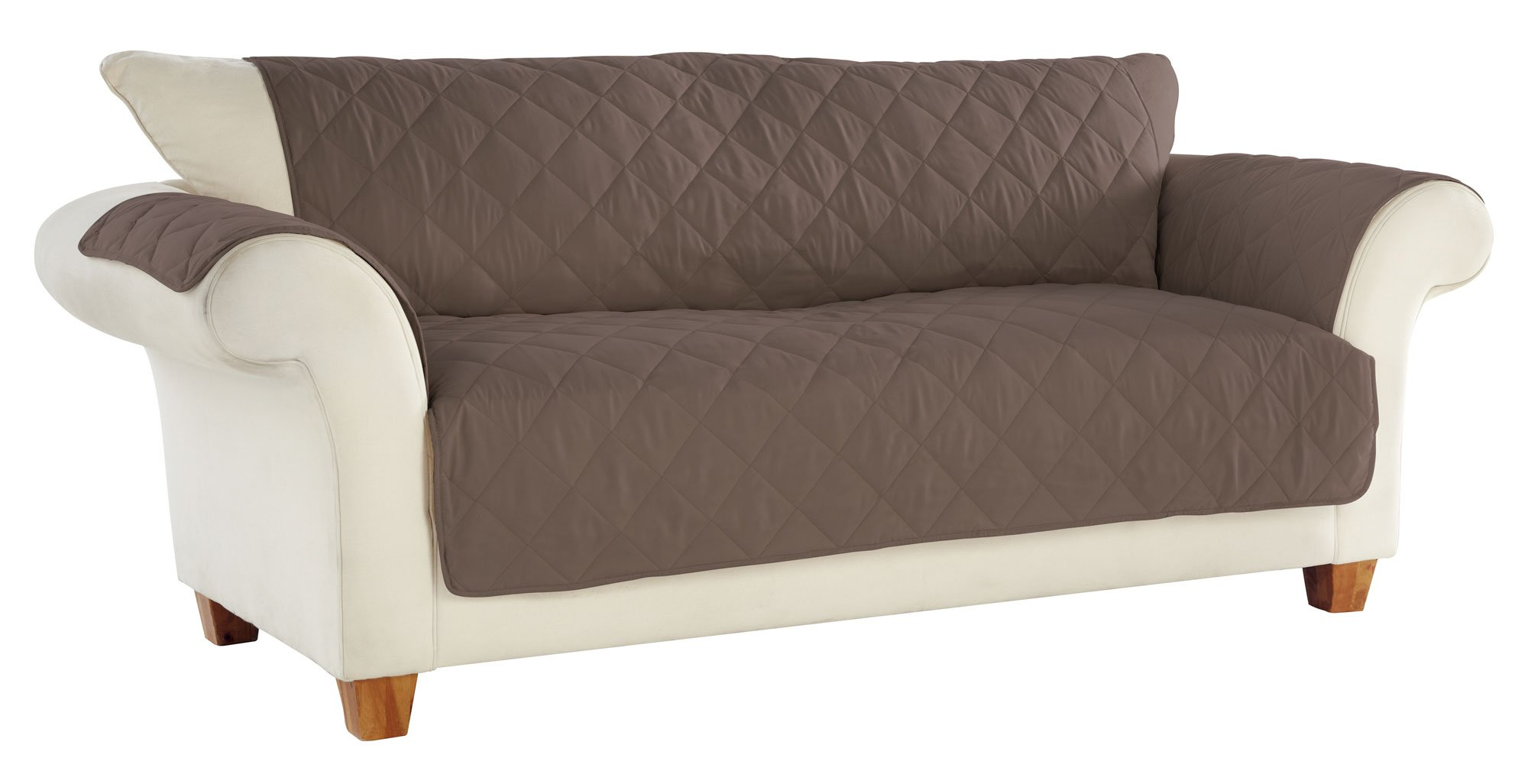 Tailor Fit No Slip Diamond Quilted Furniture Protector for Sofa, Hand Cast Pewter