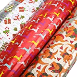 Arts & Crafts : UNOMOR Christmas Gift Wrapping Paper Rolls with 3 Designs 27.5'' X 157.5''– 3 Rolls
