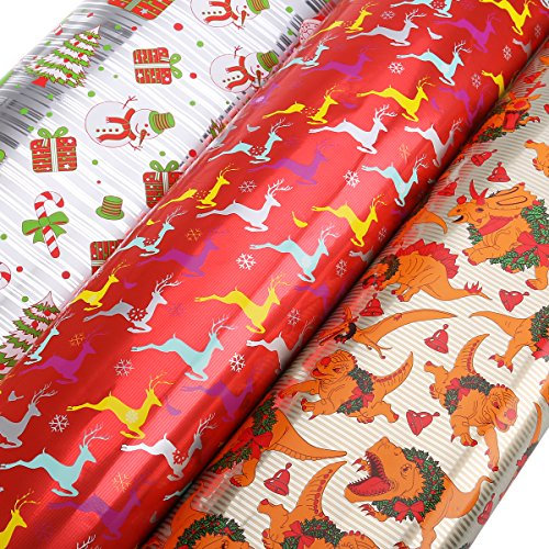 UNOMOR Christmas Gift Wrapping Paper Rolls with 3 Designs 27.5'' X 157.5''– 3 Rolls - Christmas Assorted Wrapping Paper