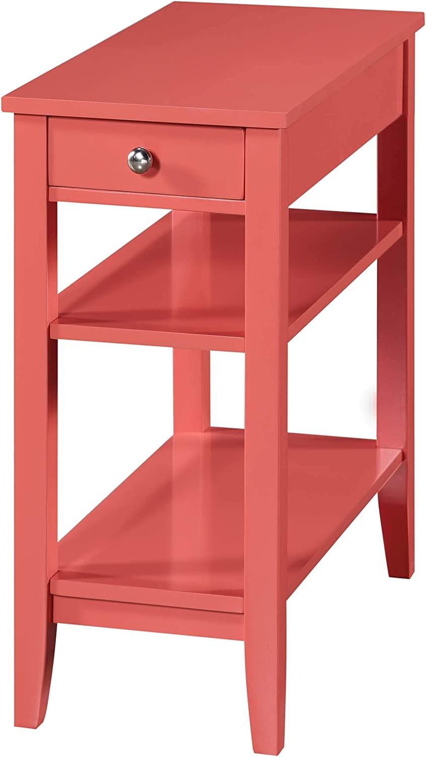 Convenience Concepts American Heritage Three Tier End Table with Drawer, Coral