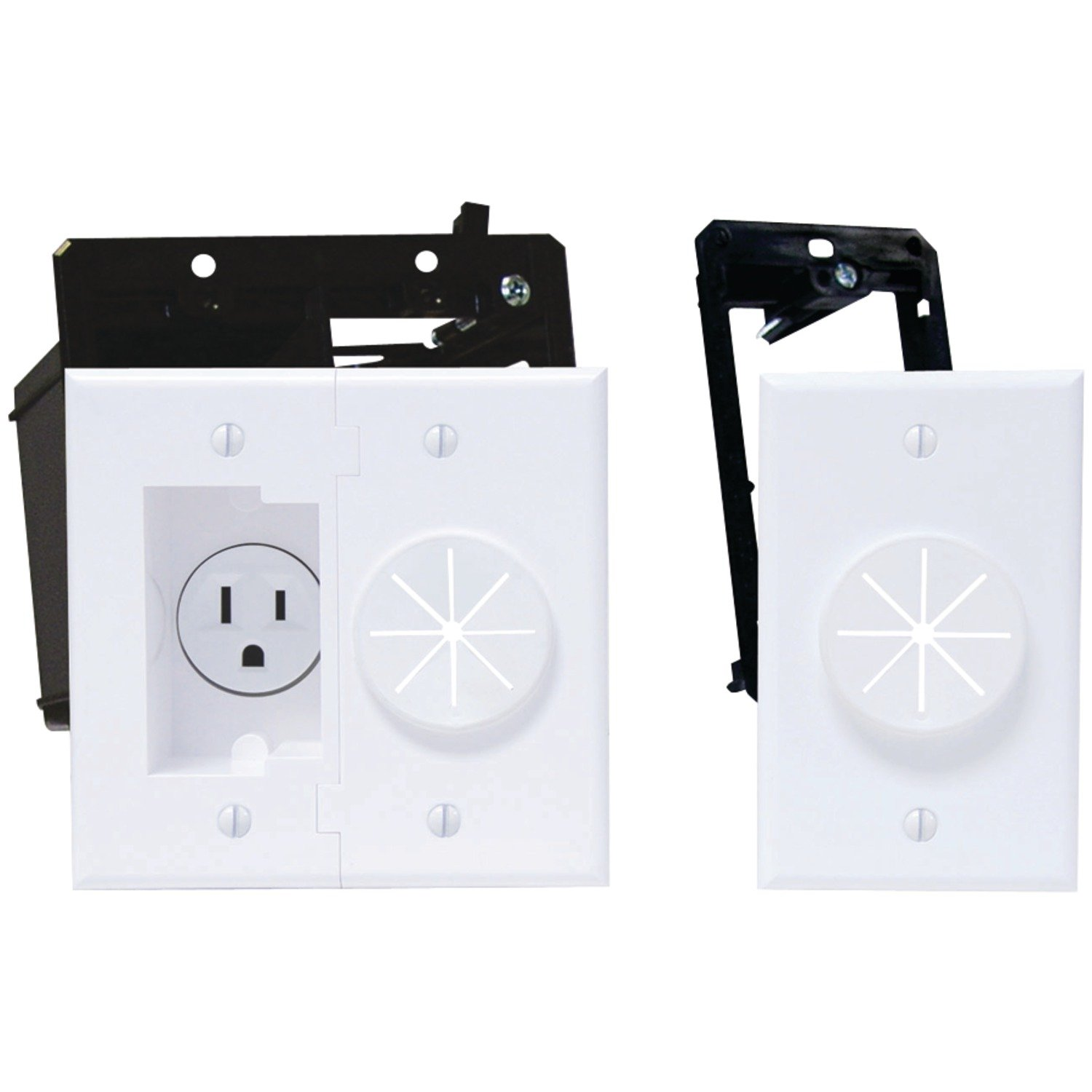 MIDLITE Power+Port Recessed Receptacle Kit & Wireport with Grommet Home Audio Crossover, White (2A5251-1G-W) by MIDLITE