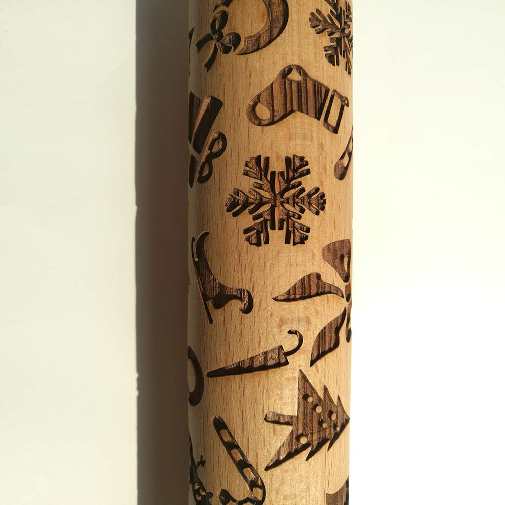 Christmas Embossed Engraved Rolling Pin Wood Embossed Rolling Pin Kitchen Tool Wooden Embossing Rolling Pin Christmas Gingerbread Biscuit Fondant Cake Patterned Roller