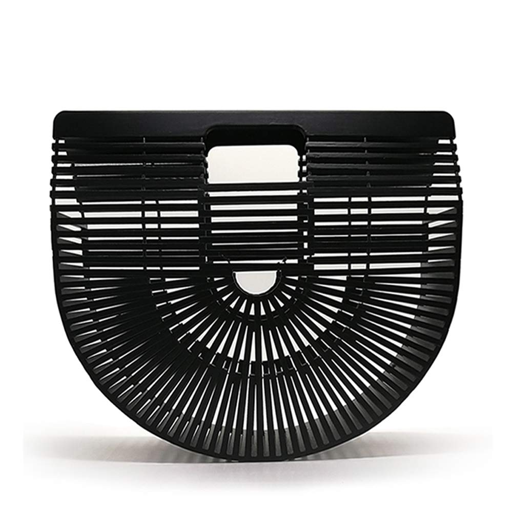 Women Bamboo Purse Handmade Handbag Wooden Tote Straw Bag (Small, Black)