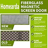 Homearda Magnetic Screen Door Fiberglass-New 2018 Design Upgrade Magnets-Durable Fiberglass Mesh Curtain with Weights in Bottom-Full Frame Magic Adhesive Tape. Fits Door Up to 34x82 inch