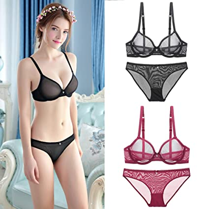 8f0c1bc7ad67f Women's See Through Lace Push up Transparent Breathable Sheer Bras and  Knickers Set Sexy Lingerie Everyday Bra Lingerie Set (75D,Black):  Amazon.in: Home & ...