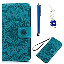 Samsung Galaxy S3 Case, Bonice 3 in 1 Accessory PU Leather Flip Folio Practical Book Style Magnetic Snap Wallet Case with [Card Slots] [Hand Strip] Premium Multi-Function Design Cover + Stylus Pen + Diamond Rhinestone Antidust Plug - Blue