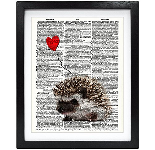 8X10 Unframed Hedgehog Love Upcycled Vintage Dictionary Art Print Vintage Book Art Print Home Decor Wall Art V032 - Hedgehog Print