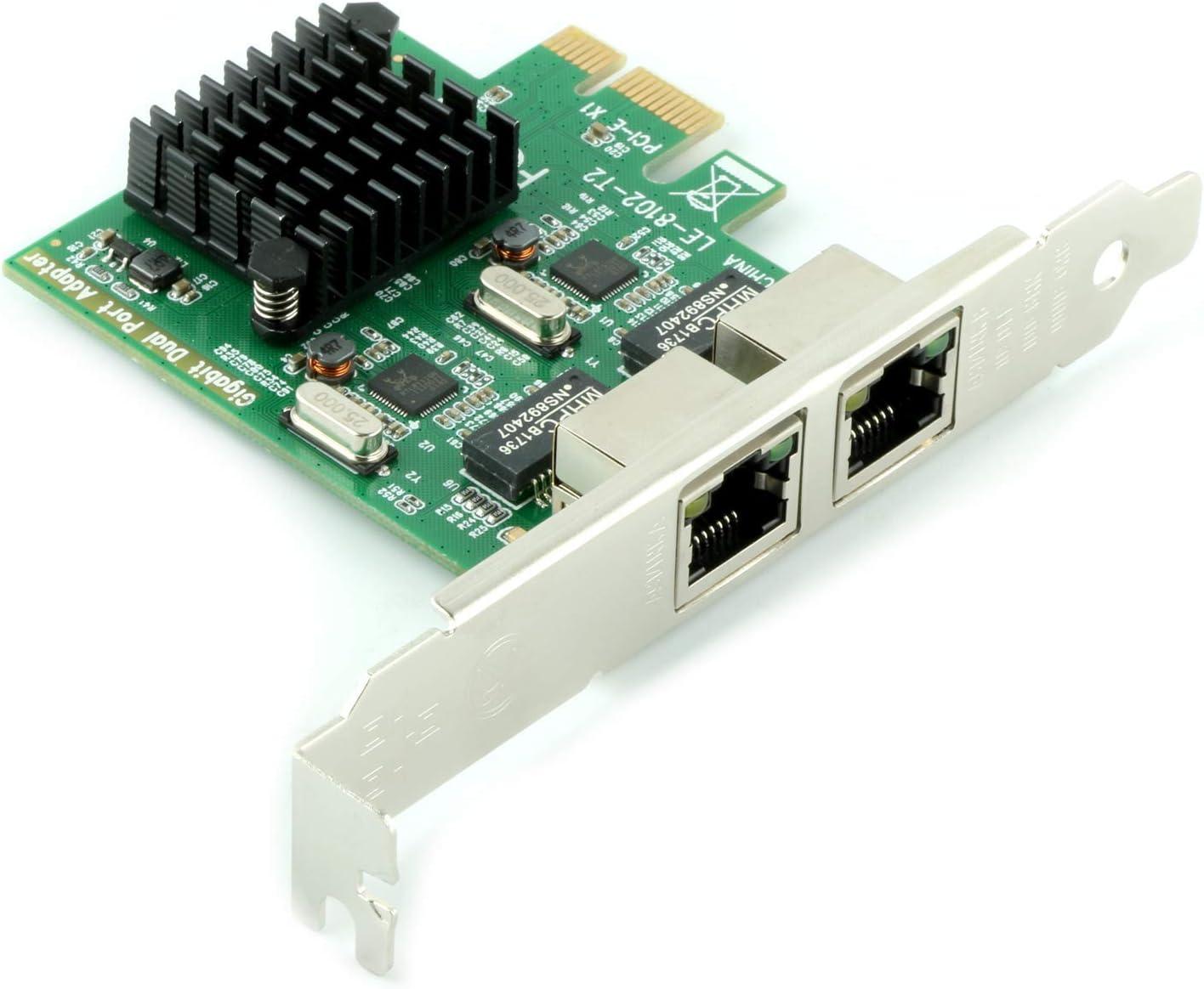 MeterMall Fresh for Ubit RJ45 x 2 Gigabit LAN Gigabit Ethernet PCI Express PCI-E Network Controller Card LAN Adapter Converter for Desktop PC