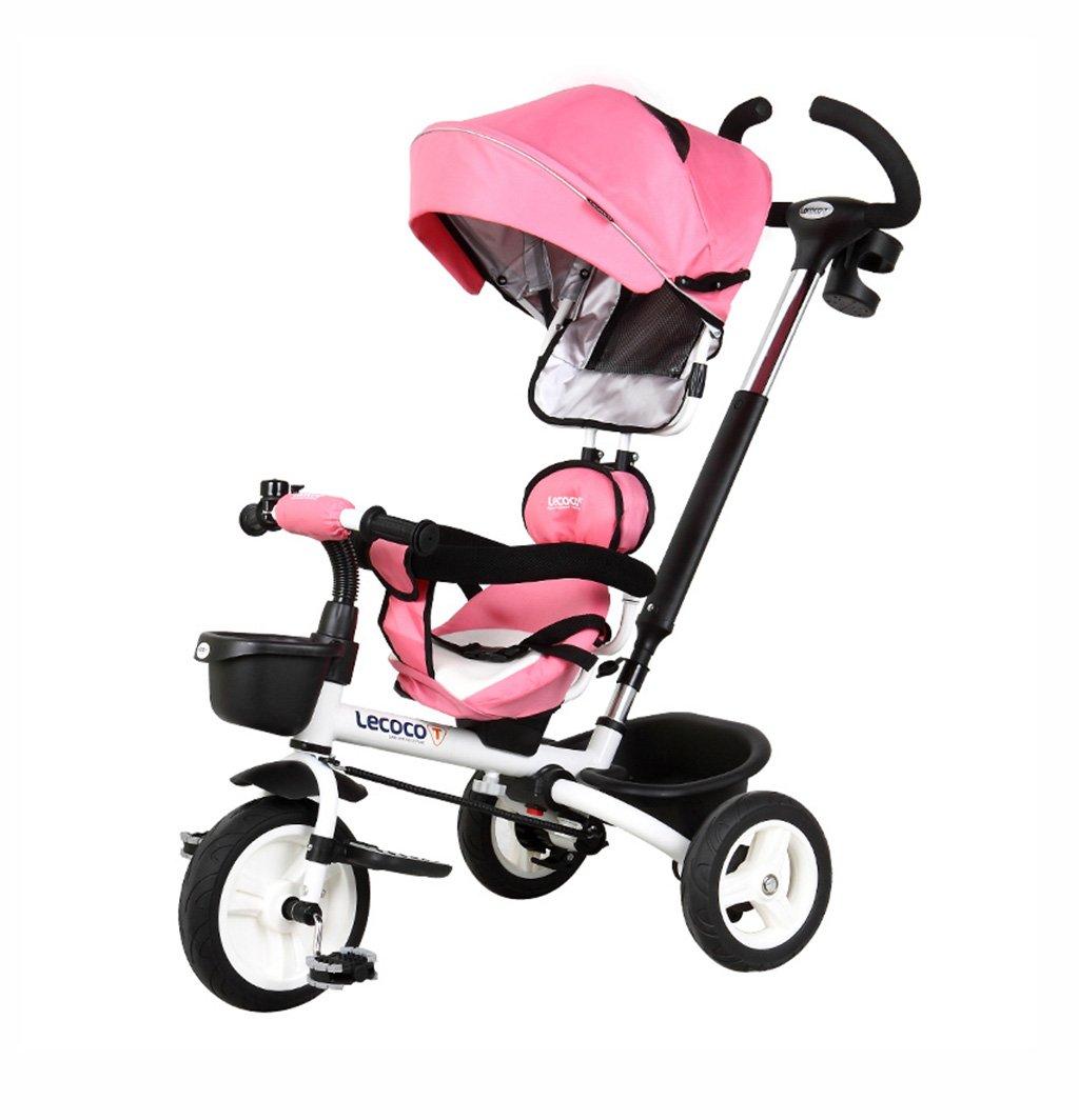 フォールド/ミュート/ロータリーキッズトリシクル1-5自転車用ベビー用品ベビー用品ベビー用品トロリーピンク25kg B07F33T5Z8