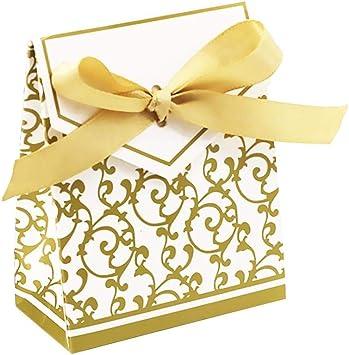 Futurelast - Juego de 50 cajas de dulces para boda, fiesta, regalo, decoración, lazo, color dorado, dorado: Amazon.es: Bricolaje y herramientas