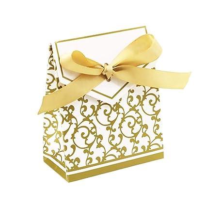 Cajas para dulces, 50 unidades, cajas de regalo con lazos para boda, fiesta