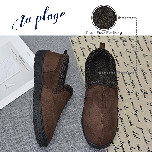 LA PLAGE Men's Anti-Slip Indoor/Outdoor House Slippers with Hardsole Size 11 US Brown by LA PLAGE (Image #4)