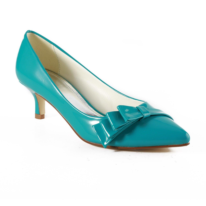 TDA TH12102 Womens Kitten Heel PU Leather Ruched Evening Parting Bridal Wedding Dress Pumps B00NWM1UIO 10 B(M) US|Blue