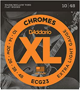 D'Addario ECG23 XL Chromes Flat Wound Electric Guitar Strings, Extra Light Gauge, 10-48 (1 Set) – Ribbon Wound and Polished for Ultra-Smooth Feel and Warm, Mellow Tone – Sealed Pouch Prevents Corrosion