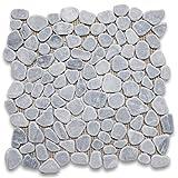 Bardiglio Gray Italian Dark Grey Marble River Rocks Pebble Mosaic Tile Tumbled