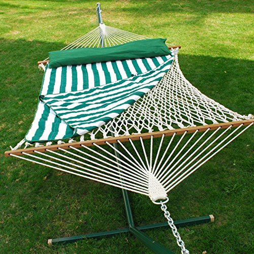 13 ft. Cotton Rope Hammock w Pad & Pillow Set Algoma Double Rope Hammock
