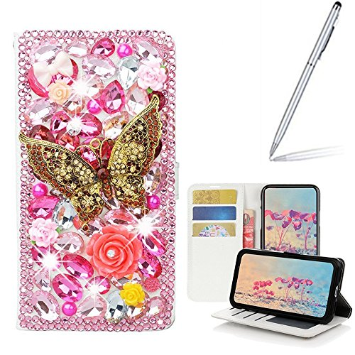 Yaheeda LG Stylo 3 Case with 2 in 1 Stylus and Ballpoint Pen, [Stand Feature] Butterfly Crystal Wallet Case Premium [Bling Luxury] PU Leather Flip Cover [Card Slots] For LG Stylo 3 Plus by Yaheeda