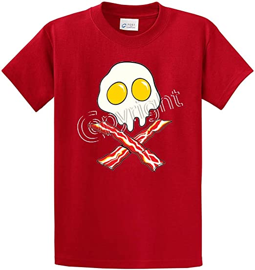 Eggs Skull Bacon Crossbones Printed Tee Shirts in Big and Tall and Regular Sizes