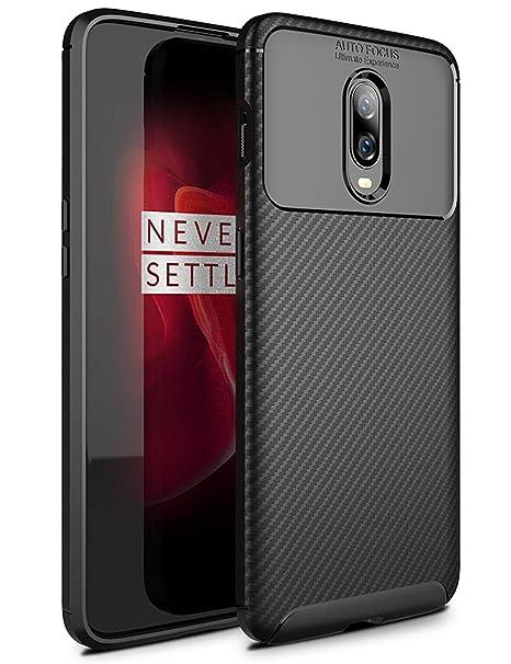 TTVie Funda para OnePlus 6T, Carcasa Caso Cubierta de Protección de TPU Silicona con Textura de Fibra de Carbono para OnePlus 6T 6.41