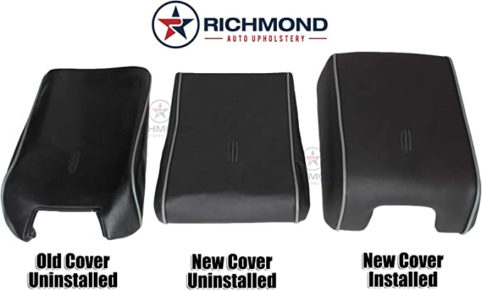 Richmond Auto Upholstery Replacement Leather Center Console Lid Cover Medium Dove Gray with Black Piping Compatible with 2006 Lincoln Mark LT Medium Dove Gray