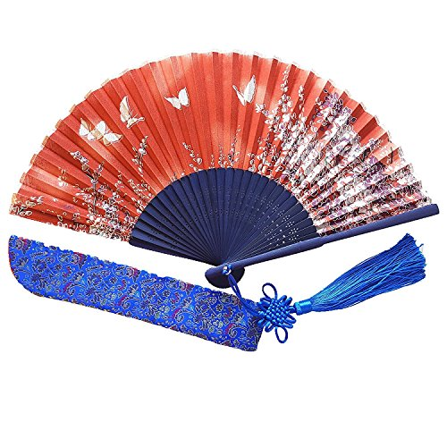 [Wise Bird Chinese Japanese Folding Hand Fan for women, Summer Cooling Accessories Vintage Retro Style 8
