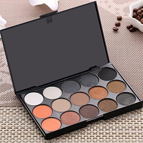 15 colores maquillaje Warm Beige Color Gris mate paleta de sombra de ojos sombra de ojos polvo Kit: Amazon.es: Belleza